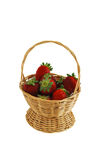 Fresh strawberries in small basket Stock Photos