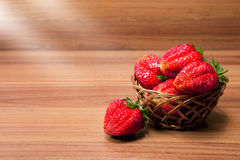 Fresh strawberries in a small pottle Royalty Free Stock Photo