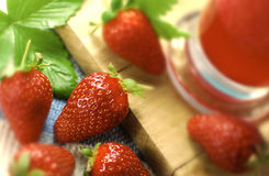 Fresh Strawberries & Smoothie Stock Images