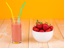 Fresh strawberries and smoothie Stock Image