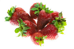 Fresh strawberries. Some red resh strawberries on white background stock images