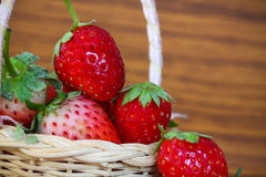 Fresh strawberries, Strawberries in a basket in the garden, Healthy fruit. Royalty Free Stock Photography