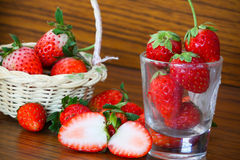Fresh strawberries, Strawberries in a basket in the garden, Healthy fruit. Stock Photography