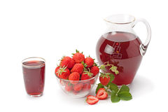 Fresh strawberries and strawberry juice Royalty Free Stock Photography