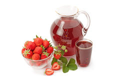 Fresh strawberries and strawberry juice Stock Images