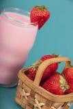 Fresh Strawberries and Strawberry milk Royalty Free Stock Photos