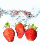 Fresh Strawberries. Fresh summer strawberries in water stock images