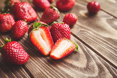 Fresh strawberries on a table stock image