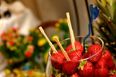 Fresh Strawberries with toothpicks stuck in them Stock Photo