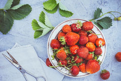 Fresh strawberries top view Royalty Free Stock Photography