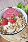 Fresh Strawberries Topping on Muesli Bowl Stock Photography