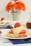 Fresh strawberries and vanilla ice cream on waffles Royalty Free Stock Image