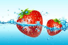 Fresh Strawberries in water Royalty Free Stock Image