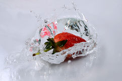 Fresh strawberries and water Royalty Free Stock Photo