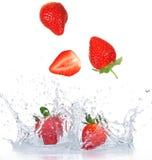 Fresh Strawberries with water splash Stock Photography