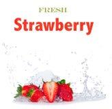 Fresh strawberries in water splash on white Royalty Free Stock Image