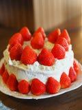 Fresh strawberries and whipped cream sponge cake stock photos