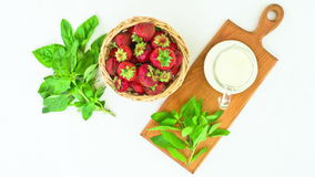 Fresh Strawberries on a white background. stop motion animation stock footage