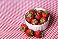 Fresh Strawberries In White Bowl From Above Stock Image