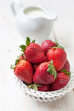 Fresh strawberries in a white bowl Stock Photography