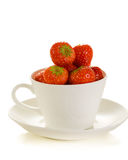 Fresh strawberries. In white cup isolated on white background Royalty Free Stock Image