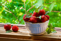 Fresh strawberries in white vintage bowl on old wooden boards. Green plants from garden as a background Stock Photo