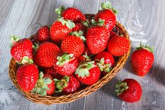 Fresh strawberries on wood background Royalty Free Stock Images