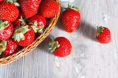 Fresh strawberries on wood background Royalty Free Stock Photography