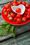 Fresh strawberries on wooden background, Stock Photo
