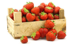 Fresh strawberries in a wooden box stock photography