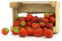 Fresh strawberries in a wooden box stock image