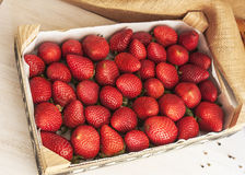 Fresh strawberries in a wooden box. Fresh strawberries in a  box Stock Image