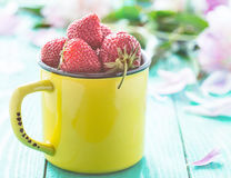 Fresh strawberries in a yellow cup Royalty Free Stock Photos