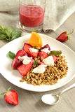 Fresh strawberries, yogurt and homemade granola Royalty Free Stock Photos