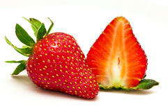 Fresh Strawberry. Full Fresh Strawberry Fruit & A Half Stock Photos