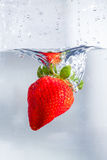 Fresh Strawberry. A shot showing vivid red colour of the strawberries dropping into water Royalty Free Stock Photography