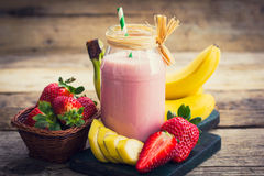 Fresh Strawberry And Banana Smoothie Stock Photo