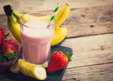 Fresh Strawberry And Banana Smoothie Stock Photos
