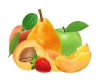 Fresh strawberry, apricot, peach, apple and pear isolated on whi Stock Photos
