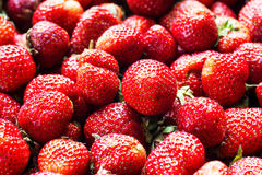 Fresh strawberry background. Ripe strawberry in close-up Royalty Free Stock Images