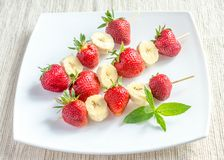 Fresh strawberry and banana skewers Stock Photos