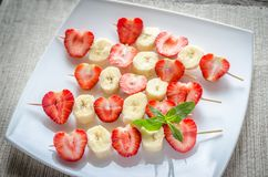 Fresh strawberry and banana skewers Royalty Free Stock Photo