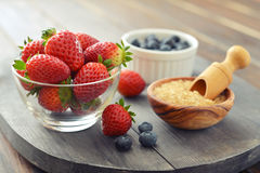 Fresh strawberry and blueberry Stock Photos