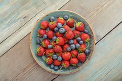 Fresh strawberry and blueberry Stock Images