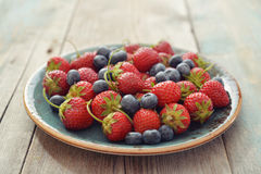 Fresh strawberry and blueberry Royalty Free Stock Image