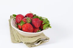 Fresh strawberry in bowl isolated on white Royalty Free Stock Photography