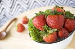 Fresh strawberry bowl Stock Images