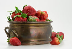 Fresh strawberry in brassy tub Stock Photography