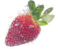 Fresh strawberry with bubbles Stock Photo
