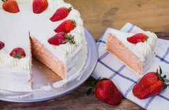 Fresh strawberry cheesecake Royalty Free Stock Image